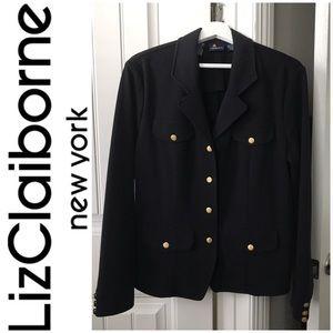 Liz Claiborne Black w/Gold Button Blazer Size 8